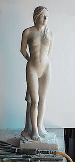 Figure Study, limestone carving
