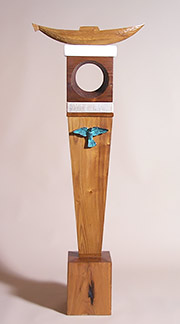 Blue Bird Totem, wood sculpture